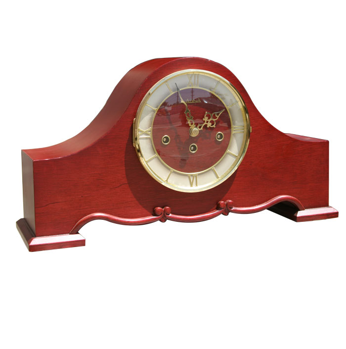 Classical traditional mechanical wind-up timber mantle